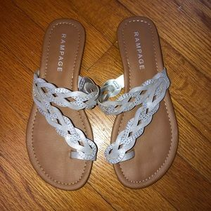 Brand new! Silver and brown sandals